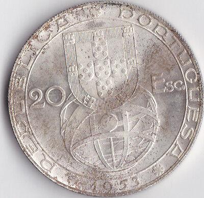 1953 20 Escudos Portugese Silver Coin