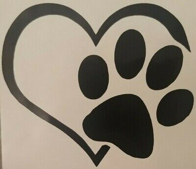 Heart Decal (DOG PAW HEART VINYL DECAL STICKER DOG BREED CHOOSE COLOR/SIZE I LOVE DOGS )