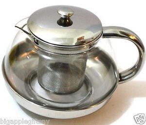 Stainless-Steel-Glass-TEA-POT-Teapot-w-Stainless-steel-Strainer-filter-680ml