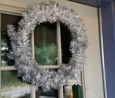 18 inch Silver Garland Premade Christmas Wreath for Decorating diy LED lights](Diy Christmas Wreath)