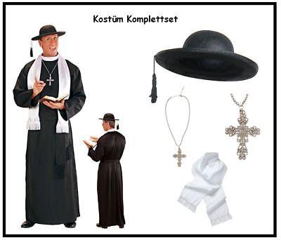 Komplett-Set Priester Herren Kostüm Robe Gürtel Hut Kreuz Stola Pater Pfarrer, - Priester Roben Kostüm