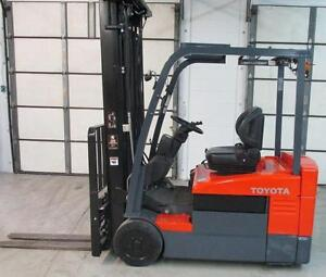 2011 TOYOTA ELECTRIC FORKLIFT 3WHEELER 4000LB CAP,WITH SIDE SHIFT FORK POSITIONER LIFT 218""