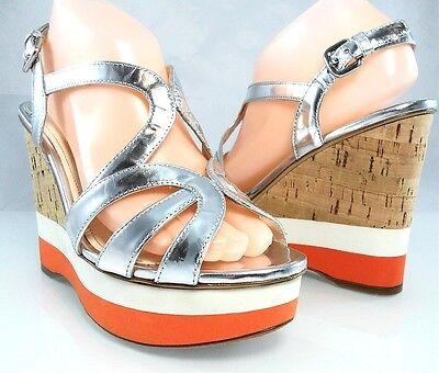 Auth $890 PRADA Metallic Leather Strappy Wedge Cork Sandal Womens Shoes 38.5 8.5