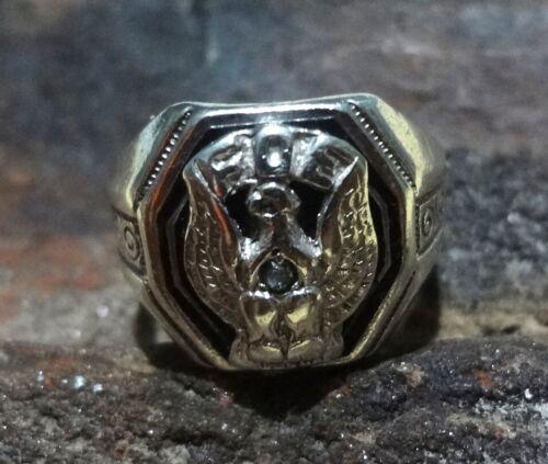 Vintage 925 Sterling Silver FOE Fraternal Order of Eagles Diamond Ring Size 8.5