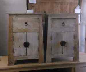 Pair of rustic oriental solid timber bedside tables oak elm Manly Vale Manly Area Preview