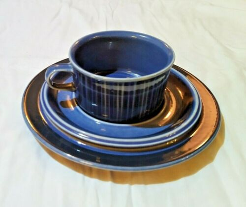 Arabia Finland Kosmos Blue Tea cup with saucer and plate