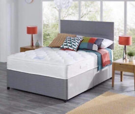 ❗❕ All Size in Stock - Plain Divan Beds - Universal Base with Matching Headboard and Mattress