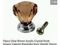 Crystal door and cupboard knobs or handles