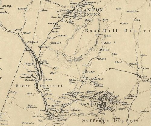 Canton Canton Center CT 1869  Map with Homeowners Names Shown