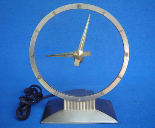VTG. WORKING MID-CENTURY JEFFERSON GOLDEN HOUR ELECTRIC MYSTERY CLOCK ATOMIC AGE