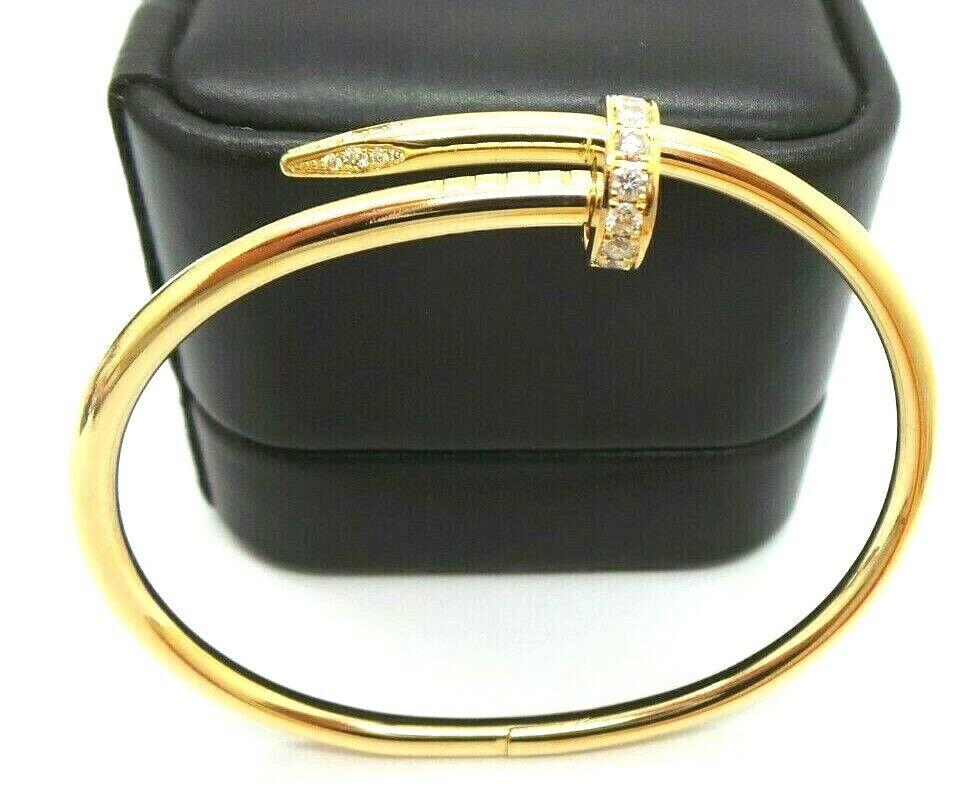 AUTHENTIC CARTIER 18k Yellow Gold Diamond Juste un Clou Nail Bracelet Size 17