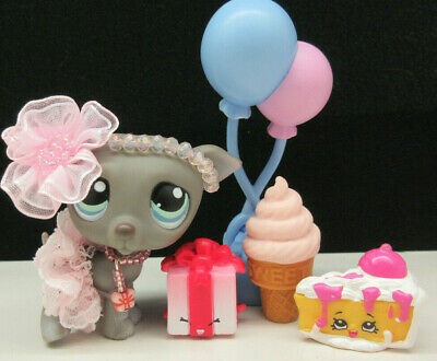 LITTLEST PET SHOP #319 CUTE GRAY WHIPPET PUPPY SKIRT BOW BIRTHDAY ACCESSORIES - Balloons Shop