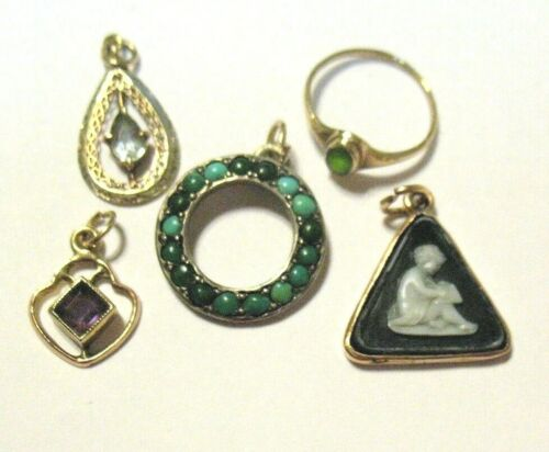 VINTAGE FINE JEWELRY LOT OF 5 PIECES 14K, 10K, STERLING PENDANT CHARM RING 5.1 G