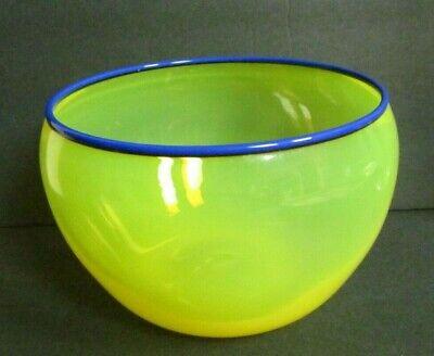 Peter Secrest Art Glass 1991 Ovoid round bowl Bold Yellow Blue rim EUC