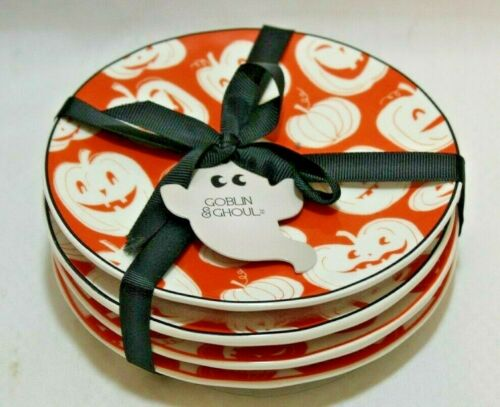 Grace Goblin & Ghoul Halloween Appetizer Plates Orange Pumpkins Set of Four New