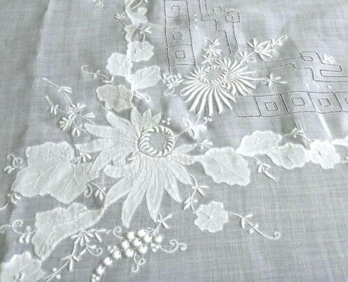 "Vintage Madeira Embroidery Linen Banquet Tablecloth 103""x69"" Floral 3D Handwork"