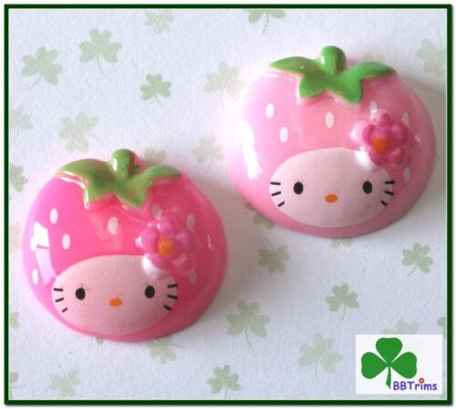 20 pc x Resin Hello Kitty Flatback Cabochon Strawberry for Scrapbook Card SB269