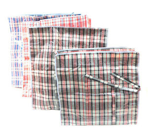 Plastic Striped Woven Zipper Bags Handles Storage Cloth