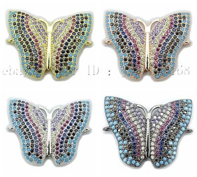 Multicolor Zirconia Gemstones Pave Butterfly Bracelet Connector Charm Beads Gold - Pave Butterfly Charm