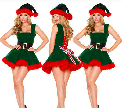 Women Christmas Elf Santa Helper Fancy Dress Xmas Costumes Party Tutu Dress+Hat - Women Elves
