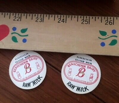 2 Vtg MILK BOTTLE CAPS - Beauchemin Dairy RAW MILK 1940's NOS