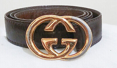 Vintage Gucci 70s 80s GG Gold Signature Buckle Leather Belt 52808/75