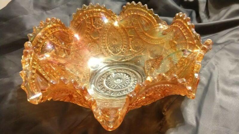 Imperial Glass Long Hobstar Ruffled Fruit Bowl Marigold Antique Carnival Glass