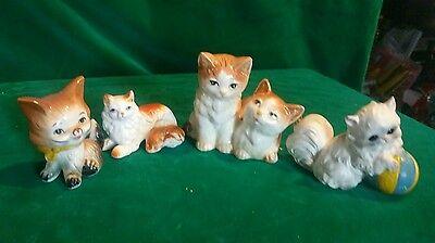 4 Assorted Ceramic/Porcelain Cat Figurines