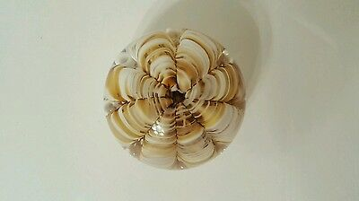 Vintage Joe St. Clair, Gold and White Ribbon Swirl Art Glass Paperweight