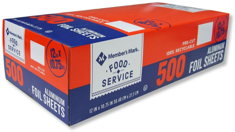 Members Mark Pre-Cut Food Service  Aluminum  Foil Sheets, 12 X 10.75 (500 Ct.)