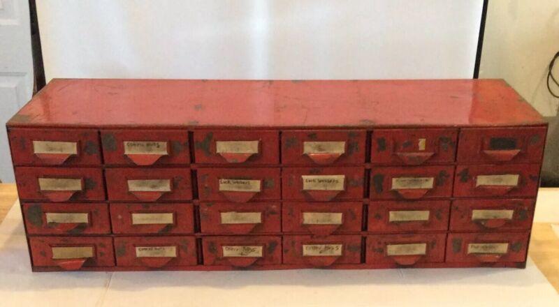 Vintage Red Industrial Salvage 24 Drawer Cabinet Chest Parts Steampunk