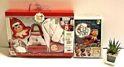 THE Elf on the Shelf A CHRISTMAS TRADITION CHEF SET and An Elf Story DVD NEW