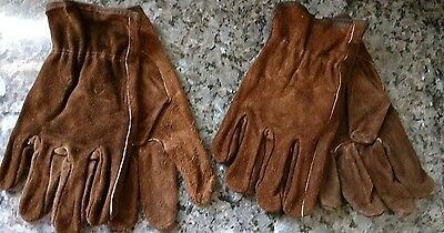 2 Pairs Brown Suede Leather Work Driver Gloves Keystone Thumb Irregular Mens L