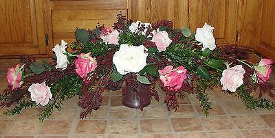 Roses Swag Boxwood Pink Cream Silk Garland Vase Dining Table Arrangement Decor