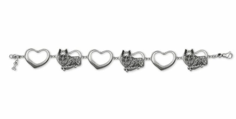 Schipperke Jewelry Sterling Silver Schipperke Bracelet Handmade Dog Jewelry SC5-