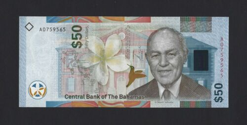 2019 BAHAMAS $50 Dollars, Brand New Banknote with Unique Security Features, UNC