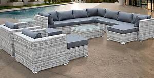 13 Seater Outdoor Sofa Set Grey TRIPOLI Erskine Park Penrith Area Preview