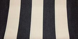 SUNBRELLA CANVAS STRIPE SLATE BLACK & VELLUM OUTDOOR FABRIC BY THE YARD 54