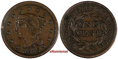 US Copper 1846 Braided Hair Large Cent 1 c. (17 107)