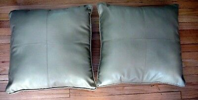 Faux Leather Decorative Tan Accent Throw Pillows (Set Of 2) 16x16