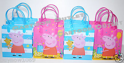 12 PEPPA PIG LOOT GOODY BAGS PARTY FAVORS GIFTS KIDS CANDY BAGS GIRLS PARTY (Peppa Pig Gift Bags)
