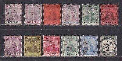 Trinidad F/VF Used 1885-1902 Britannia Issues Selection of 12 Stamps SCV $108.35