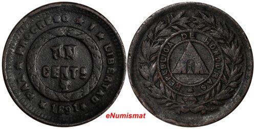 """Honduras Bronze 1891 1 Centavo """"UN"""" Struck Over """"10"""" VF Condition KM# 61"""