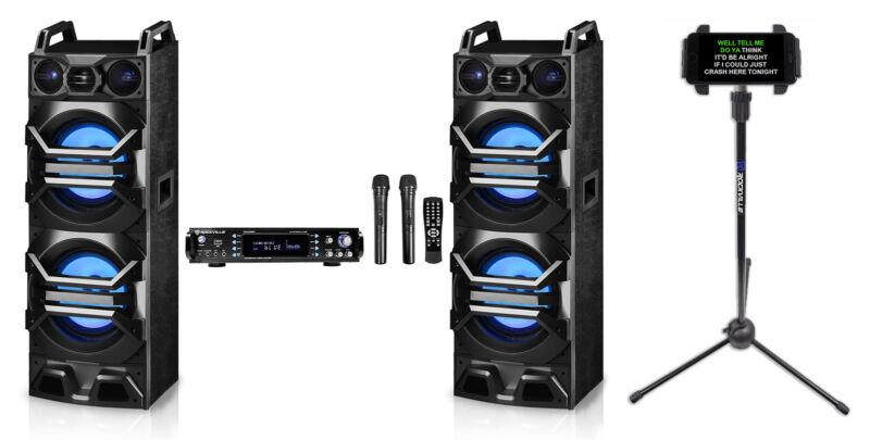 "Rockville Bluetooth Karaoke Machine System+2)Dual 10"" LED Speakers+Wireless Mics"