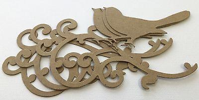 "(3) *BIRD on SCROLL* Flourish Elegant Birds - Bare Chipboard Die Cuts - 5"""