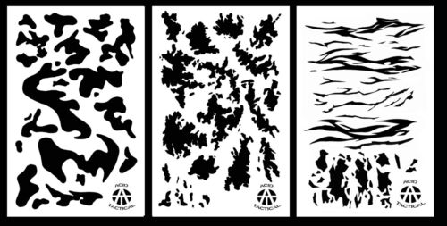 """3 Pack! Vinyl Airbrush Camo Stencils 14"""" 10 Mil - ATACS, ARMY, TIGER Camouflage"""
