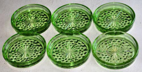 GREEN CUBE CUBIST JEANNETTE SET/6 COASTERS DEPRESSION GLASS VINTAGE