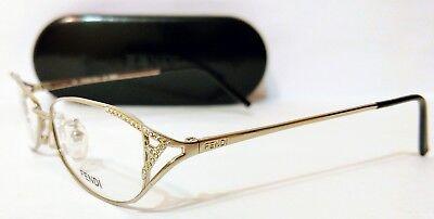 NEW- Fendi F712R Eyeglasses Women's Oval Gem Studded Silver 130 mm + Case & Acc