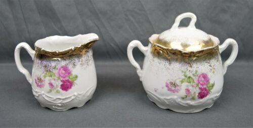 Antique Klondike Germany Porcelain Creamer and Sugar Bowl Set Floral Pattern