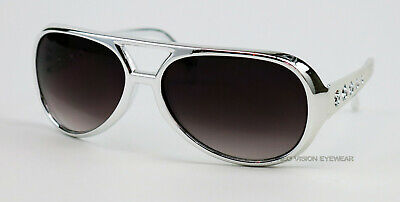 Elvis Silver Chrome Vintage Style Aviator Sunglasses Retro Metallic Large BIG